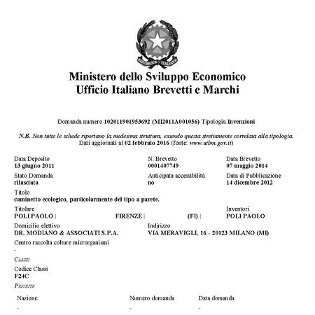 brevetto biocamino fuecopared